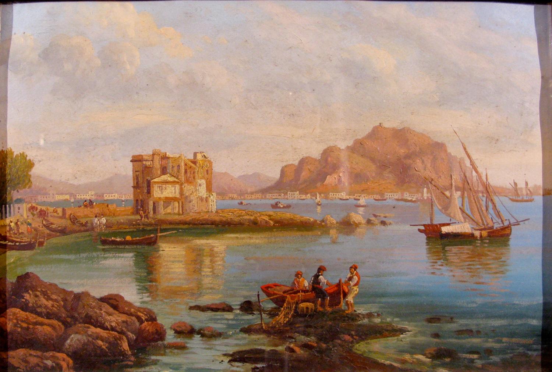 258-SC-SICILIANA-DEL-SECOLO-XIX-Veduta-di-Palermo-con-barche-di-pescatori-Dipinto-ad-olio-su-carta-in-cornice-dorata-Cm33x23
