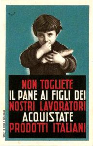 manifesto-reclame-depoca-autarchia-prodotto-italiano-pane-fascismo-illustratore-mondaini-ventennio-propaganda-collezionismo
