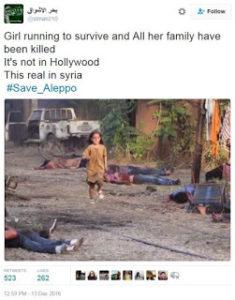 Fanciulla scappa da bombardamento russo in Siria