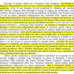 Il Nobel Krugman:  Il debito di Stato  NON è come quello di una famiglia (Monti non lo sa)