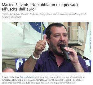 """Prossimamente la Lega (obbligata, """"ma andrà bene così"""") diventerà di nuovo pro-ITALEXIT. Ma non ringraziate Salvini per favore…"""