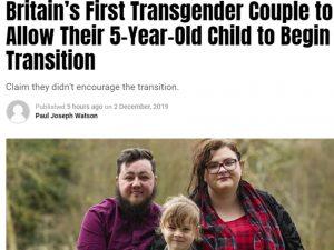 La prima coppia transgender britannica a consentire al loro bambino di 5 anni di iniziare la transizione
