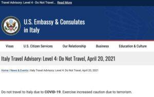 """""""Non viaggiate in Italia"""". Cosa sanno gli USA?"""
