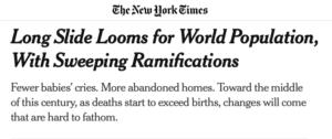DEPOPOLAZIONE E VACCINO MRNA. IL NEW YORK TIMES PREVEDE UNA MASSICCIA RIDUZIONE DELLA POPOLAZIONE